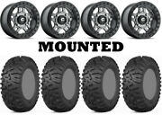 Kit 4 Itp Terra Claw Tires 27x9-14 On Fuel Anza Beadlock Gray D918 Wheels Can