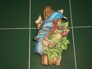 Andrea By Sadek Japan Painted Bisque Porcelain Bluebird On Branch Wall Plaque 8