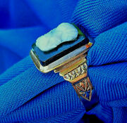 Real Antique Victorian Rose Gold Ring Vintage Deco Intaglio Crafted Onyx Cameo