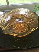 Amber Colored Glass Cake Plate 4 1/2 Inches Tall And 10 Inches Across