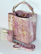 Brahmin One Of A Kind Lilac And Gold Abstract Flowers Mini Amelia And Wallet Nwt