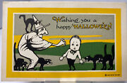 Antique Halloween Postcard Witch Black Cats Scared Boy Yellow Frame Gibson Rare