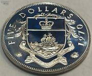 Bahamas - 5 - Five Dollars 1970 - Huge Proof Silver Coin - Km-10 - 1.2526 Asw