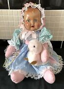 Vintage Ooak Antique Bisque Head Doll Cloth Bodied Pet Duck Gingham Dress Dolly