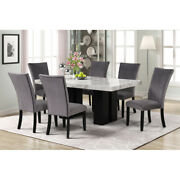 7pcs Faux Marble Dining Table With Six Velvet Chairs Kitchen Dining Set Us Stock