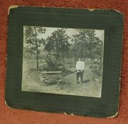 Antique Cabinet Card Photograph Young Boy Express Wooden Wagon Dog Cart Goat