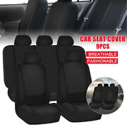 Car Seat Covers Front And Rear Bench Full Set For Auto Truck Suv Solid Black