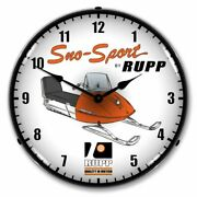 Collectible Sign And Clock-710105 Rupp Snowmobile Clock - Made In Usa