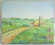 Ranch House Painting Folk Naive Vintage Silo Well Barn Hill Lonely Road Bregman