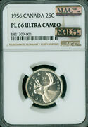 1956 Canada 25 Cents Ngc Pl-66 Ultra Cameo Solo Finest Grade Mac Spotless