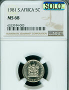 1981 South Africa 5 Cents Ngc Ms-68 Solo Finest Grade Mac Spotless