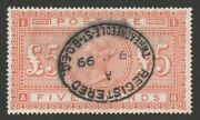 Great Britain 1867 Qv Andpound5 Orange White Paper Letters Ah. Sg 137 Cat Andpound6125