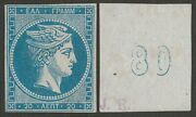 Greece 1862 Large Hermes 20l Error Of Value Figure And03980and039 On Back. Certificate.