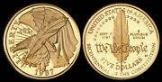 United States 1987w 5 Andfrac12 Eagle Constitution Bicentennial. Gold Proof. Km-221.