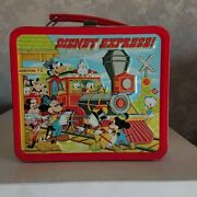1980s Vintage Rare Disney Can Lunch Box By Aladdin With Thermos Used Japan F/s