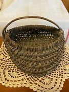 Vintage Small Buttock Egg Basket Handwoven Early 19th Century