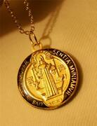 Sculpted Shiny Black Gold Red Epoxy St Benedict Pax Cross Medal Pendant Necklace