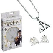 Harry Potter Silver Plated Necklace And Earrings Deathly Hallows Official Licensed