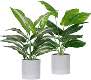 2 Pack Fake Plants Artificial Potted Faux Plants For Office Desk Home Farmhouse
