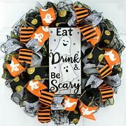 Eat Drink And Be Scary Ghost Halloween Front Door Mesh Wreaths - Black White Go...