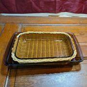 Set Of 2 Pyrex Amber/brown Vision Ware Glass Bakeware 233-r 3qt, 232-r 2 Qt, Usa