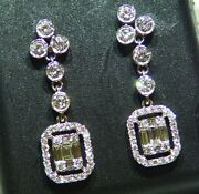1.11ct 18k Solid Gold Natural Diamond Dangle Halo Engagement Earrings Vintage