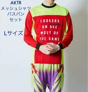 Aktr Actor Top And Bottom Set Red Yellow Mesh Shirt Purple Bass Bread Size