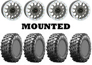 Kit 4 Maxxis Carnivore 30x10-14 On System 3 Sb-5 Beadlock Matte Gray White Can