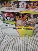 Pokemon 2-pack Poke Ball Tin + Collector Chest Charizard Lunch Box Tcg New Nwt