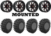 Kit 4 Superatv Terminator Tires 34x10-18 On Fuel Runner Red D779 Wheels Can