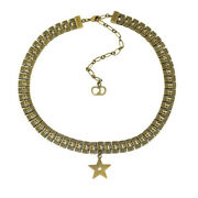 Christian Dior Star Chain Choker Necklace Pendant-18.6g / Antique Gold
