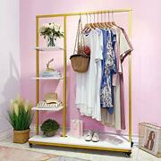 Fonechin Metal Clothes Garment Racks With 4 Wood Storage Shelves And Hanging Bar