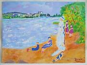 Outsider Folk Naive Original Painting Crazy Long Bodies Children Beach Doxie