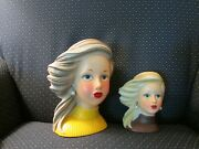 Lady Head Vase Pair Of Two Vases.andnbsp Excellent No Chips Paint Is Good.andnbsp
