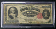 1891 1 Martha Silver Certificate Circulated Note In Hard Plastic Holder