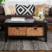 Coffee Table 40 In. X 22 In. 2-wicker Basket Drawer Mdf Black Rectangle