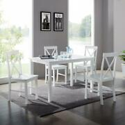 Dining Set 1-table 4-chair 4-leg High Cross-back Painted Wood White