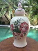 Rare Antique Hand Painted French Faience Lidded Urn Vase 1780-1890