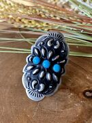Leander Tahe Turquoise And Sterling Silver Concho Adjustable Ring Size 8 Signed