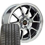 Fits 18 Fr500 Style Chrome Wheels And Tire Set Fit Ford Mustang