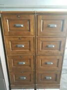 Used Oak Wooden Filing Cabinet With 4 Drawers, Great Condition