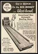 1949 Elco Bowl Coin-op Arcade Bowling Game Machine Pic Vintage Trade Print Ad
