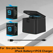 New 3 Slot Storage Charger Box +2 Battery For Gopro Hero 9 Black Accessories Us
