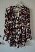 Fig And Flower Anthropologie Blouse Shirt Button Top Tunic Rayon Plus Size 2x