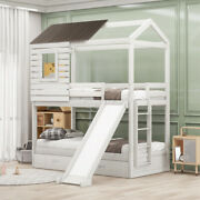 Twin-over-twin House Bunk Bed With Or Without Drawers Wood Frame Kids Bedroom