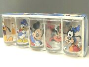 Vintage Mickey Mouse Disney Characters Glass Set 70-80s Japan Very Rare New
