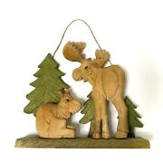 Wood Carved Moose Bull And Cow Trees Wall Hanging/ Shelf Decor
