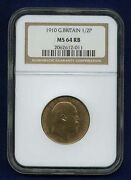 Great Britain Edward Vii 1910 Half Penny Uncirculated Certified Ngc Ms64-rb