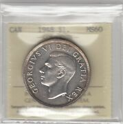 1948 Canada One Silver Dollar Coin - Iccs Graded Ms-60