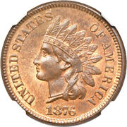 1876 Indian Head Cent Ms 65+ Rb Ngc 1c C00056119